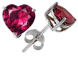 Star K 3.00 cttw 7mm Heart Shaped Created Ruby Stud Earrings with Gift Bag and Card