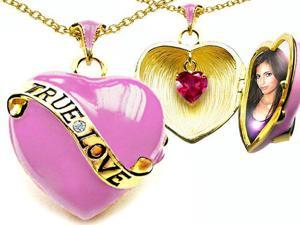 Original Star K(TM) 1.25 Inch True Love Pink Enamel Locket With Created Heart Ruby Inside