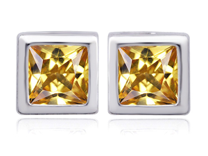 Original Star K(TM) 8mm Square Cut Simulated Imperial Yellow Topaz Earrings Studs
