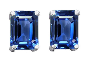 Original Star K(TM) 8x6mm Emerald Cut Simulated Sapphire Earrings