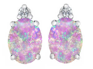 Original Star K(TM) 8x6mm Oval Created Pink Opal Earrings Studs