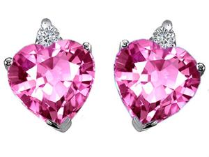 Original Star K(TM) Heart Shape 7mm Created Pink Sapphire Earrings