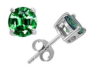 Original Star K(TM) Round 7mm Simulated Emerald Earring Studs