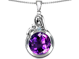 Original Star K(TM) Loving Mother With Child Family Large Pendant With Round 10mm Simulated Amethyst