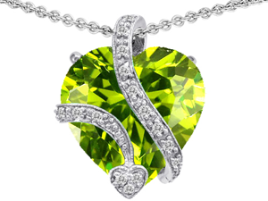 Original Star K(TM) Large 15mm Heart Shaped Simulated Peridot Love Pendant