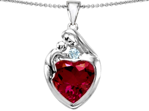 Original Star K(TM) Large Loving Mother With Child Family Pendant With 12mm Heart Created Ruby