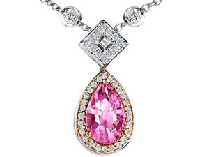 Original Star K(TM) Two Toned Created Pear Shaped Pink Sapphire Necklace