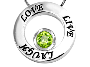 Original Star K(TM) Live/Love/Laugh Circle of Life Pendant with August Birthstone Round 7mm Simulated Peridot