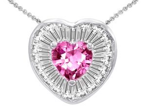 Original Star K(TM) Heart Shape Created Pink Sapphire Heart Pendant