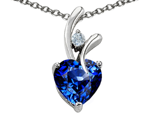 "Star K 1.95 CTW Heart Shaped 8mm Created Sapphire in Sterling Silver Pendant with 18"" Necklace"