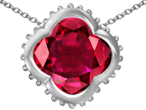 Original Star K(TM) Large Clover Pendant with 12mm Clover Cut Created Ruby