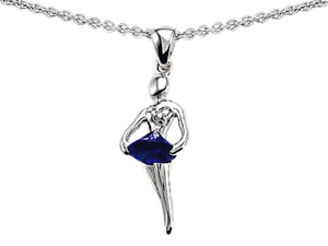 Original Star K(TM) Ballerina Dancer Pendant with Round 7mm Created Sapphire