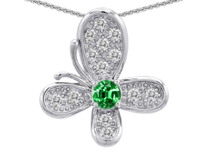 Original Star K(TM) Butterfly Pendant With Round Simulated Emerald