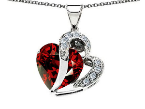 Original Star K(TM) Heart Shape 12mm Simulated Garnet Pendant