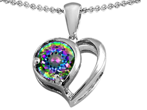 Original Star K(TM) Heart Shape Pendant With Round 7mm Rainbow Mystic Topaz