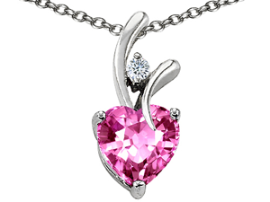 Original Star K(tm) Heart Shaped 8mm Created Pink Sapphire Pendant