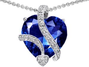 Original Star K(TM) Large 15mm Heart Shape Simulated Blue Sapphire Love Pendant
