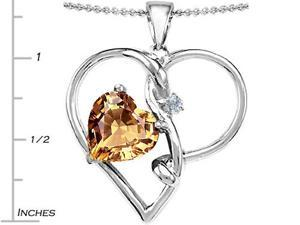 5.00 cttw Original Star K(TM) Large 10mm Heart Shaped Simulated Imperial Yellow Topaz Knotted Heart Pendant