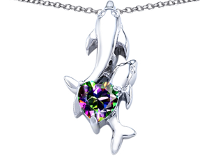 Original Star K(TM) 7mm Heart Shape Mystic Topaz Two Swimming Dolphin Pendant