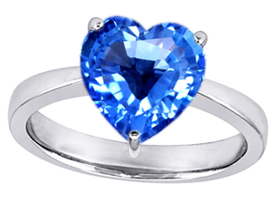 Original Star K(TM) Large 10mm Heart Shape Solitaire Engagement Ring With Simulated Blue Topaz