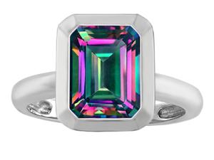 Original Star K(TM) 9x7mm Emerald Cut Octagon Solitaire Engagement Ring With Mystic Topaz