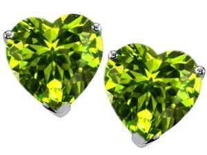 Original Star K(TM) Heart Shape Simulated Peridot Earrings Studs