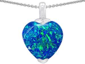 Original Star K(TM) 10mm Heart Shape Created Blue Opal Pendant