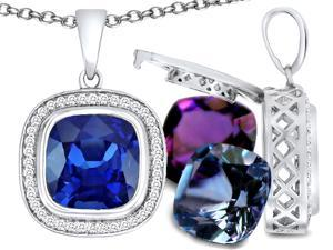 0.32 Ct. TW. Switch-It Gems Cushion Cut 10mm Simulated Sapphire Pendant with 12 Interchangeable Simulated Birthstones