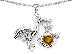 Original Star K(TM) Baby Stork Mother Pendant with Heart Genuine Citrine