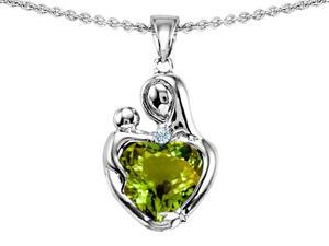 Original Star K(TM) Loving Mother With Child Hugging Pendant With Heart Shape 8mm Simulated Green Tourmaline