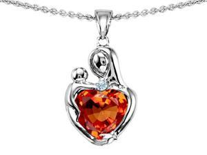 Original Star K(TM) Loving Mother With Child Hugging Pendant With Heart Shape 8mm Simulated Orange Mexican Fire Opal