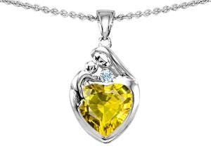 Original Star K(TM) Loving Mother With Child Family Pendant With 8mm Heart Shape Simulated Yellow Sapphire