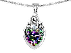 Original Star K(TM) Loving Mother with Twins Children Pendant With 8mm Heart Rainbow Mystic Topaz