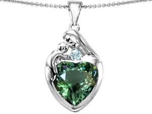 Original Star K(TM) Large Loving Mother With Child Family Pendant With 12mm Heart Simulated Green Tourmaline