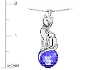 Original Star K(TM) Large Cat Pendant with 10mm Simulated Sapphire faceted Ball