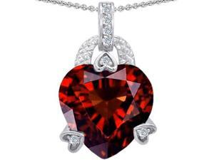 Original Star K(TM) Large Heart Shape 13mm Simulated Garnet Designer Pendant