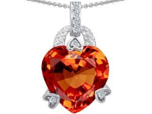 Original Star K(TM) Large Heart Shape 13mm Simulated Orange Mexican Fire Opal Designer Pendant