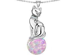 Original Star K(TM) Large Cat Pendant with 10mm Simulated Pink Opal Ball