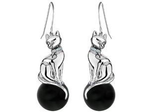 Original Star K(TM) Large Cat Hanging Hook Earrings with 10mm Simulated Black Onyx Ball