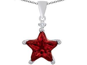 Original Star K(TM) Large 14mm Fancy Star Pendant with Simulated Garnet