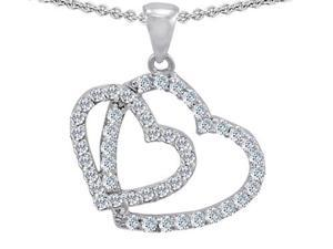 Original Star K(TM) Double Heart Love Pendant with Round Simulated Diamond