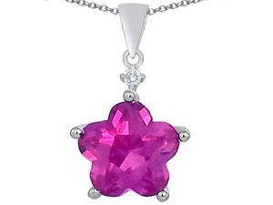 Original Star K(TM) Large 14mm Flower Shape Star Pendant with Created Pink Sapphire