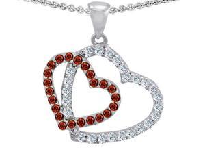 Original Star K(TM) Double Heart Love Pendant with Round Simulated Garnet