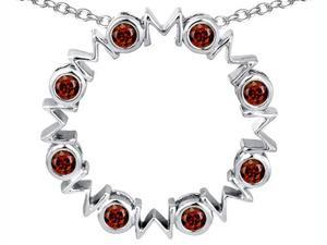 Original Star K(TM) Large MOM Circle Mother's pendant with Round Simulated Garnet