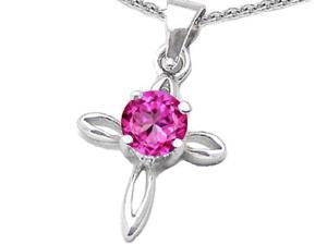 Original Star K(TM) Round Created Pink Sapphire Cross Pendant