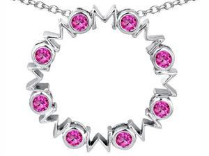 Original Star K(TM) Large MOM Circle Mother's pendant with Round Created Pink Sapphire