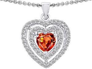 Original Star K(TM) 6mm Heart Shape Simulated Orange Mexican Fire Opal Heart Pendant