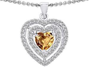 Original Star K(TM) 6mm Heart Shape Simulated Imperial Yellow Topaz Heart Pendant