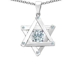 Original Star K(TM) Jewish Star of David Pendant with Round Genuine White Topaz