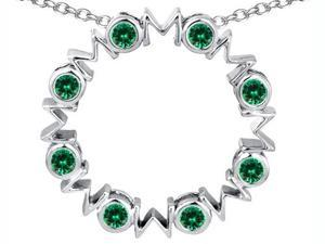 Original Star K(TM) Large MOM Circle Mother's pendant with Round Simulated Emerald